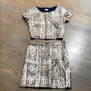 Hollister Sequin Cropped Top & Skirt 2 Piece Combo